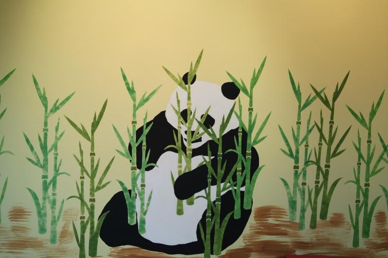 Schablonentechnik Bambus