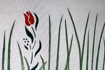Schablonentechnik Blumenwiese